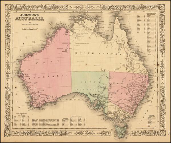 68-Australia Map By Benjamin P Ward  &  Alvin Jewett Johnson