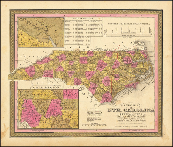 64-North Carolina Map By Samuel Augustus Mitchell