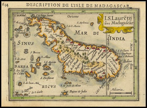 53-African Islands, including Madagascar Map By Petrus Bertius