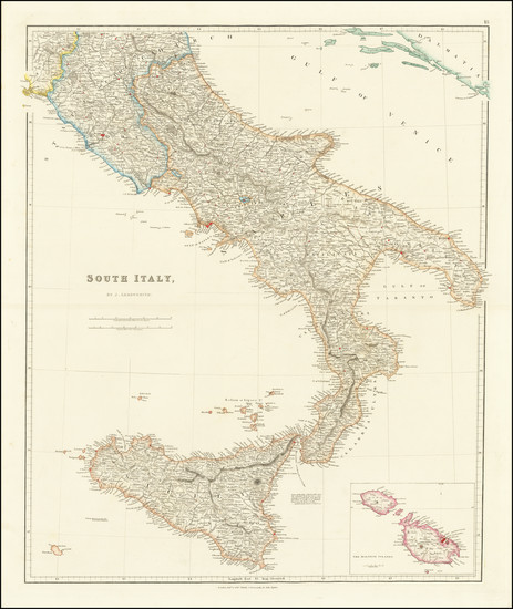 41-Southern Italy, Malta and Sicily Map By John Arrowsmith