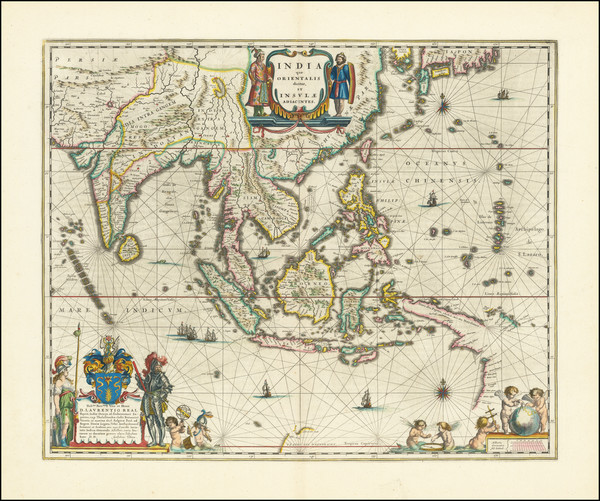 12-China, India, Southeast Asia, Philippines and Indonesia Map By Willem Janszoon Blaeu