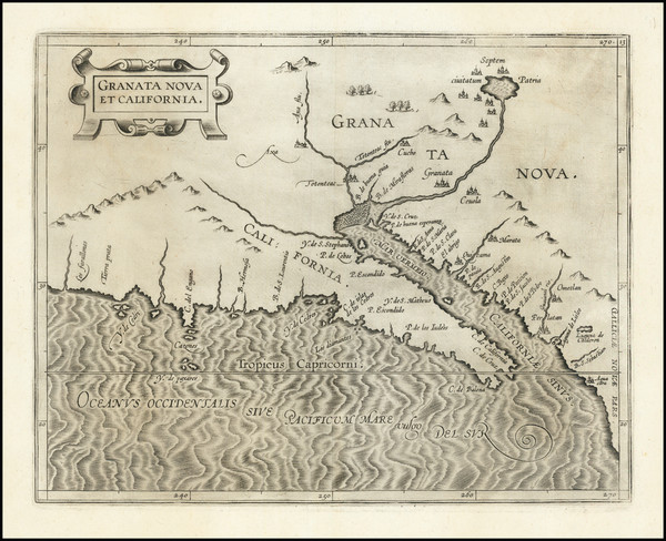 85-Southwest, Baja California and California Map By Cornelis van Wytfliet