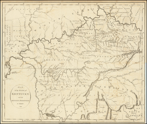 61-Kentucky, Tennessee and Ohio Map By John Russell