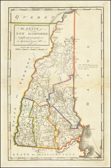 28-New Hampshire Map By Mathew Carey