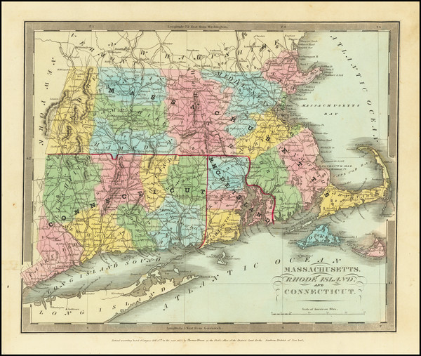 21-New England, Connecticut, Massachusetts and Rhode Island Map By David Hugh Burr