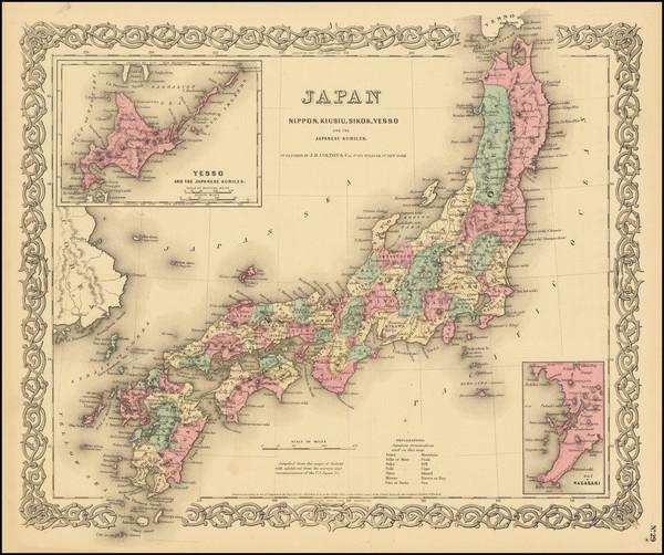 96-Japan Map By Joseph Hutchins Colton