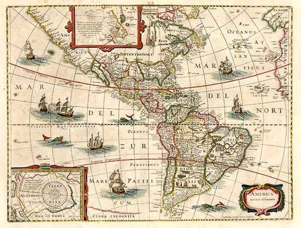 60-South America and America Map By Jodocus Hondius / Jan Jansson