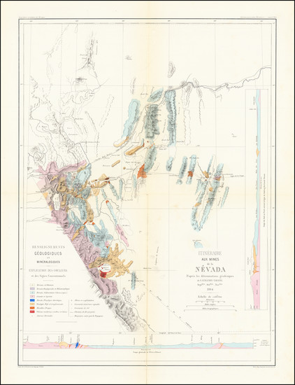 91-Southwest, Nevada and California Map By Edmond Guillemin-Tarayre