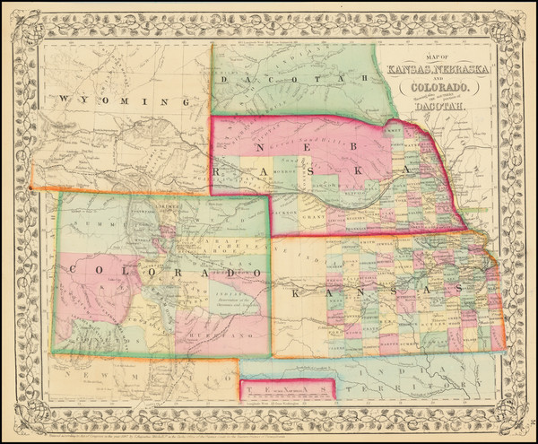 70-Plains, Kansas, Nebraska, South Dakota, Colorado, Rocky Mountains, Colorado and Wyoming Map By