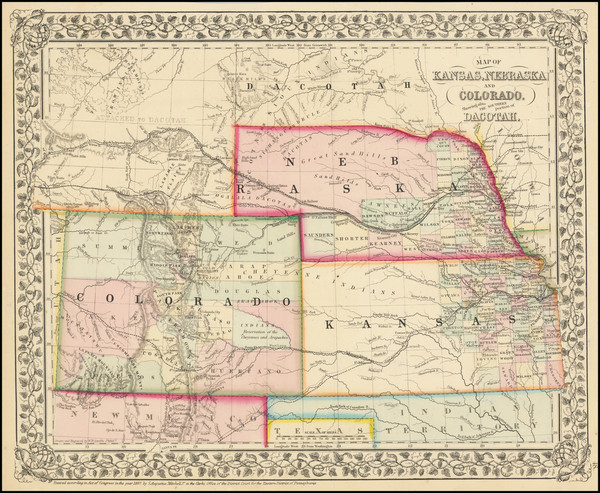 82-Plains, Kansas, Nebraska, South Dakota, Colorado, Rocky Mountains, Colorado and Wyoming Map By