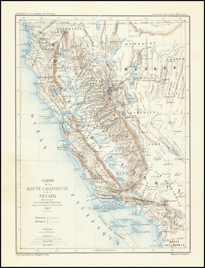 56-Nevada and California Map By Edmond Guillemin-Tarayre