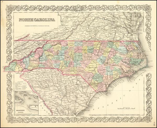 45-North Carolina Map By Joseph Hutchins Colton