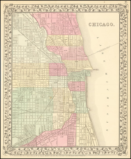 5-Illinois and Chicago Map By Samuel Augustus Mitchell Jr.