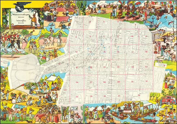 77-Mexico and Pictorial Maps Map By Anonymous