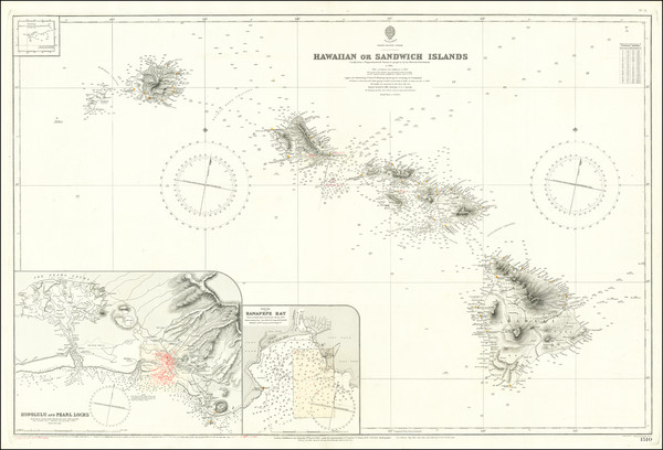 33-Hawaii and Hawaii Map By British Admiralty