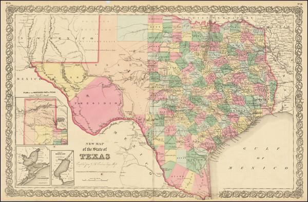 43-Texas Map By Joseph Hutchins Colton