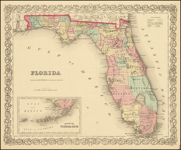 50-Florida Map By Joseph Hutchins Colton