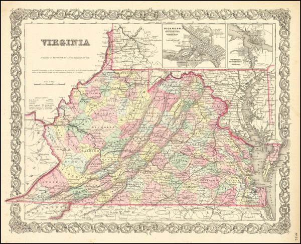 51-West Virginia and Virginia Map By Joseph Hutchins Colton