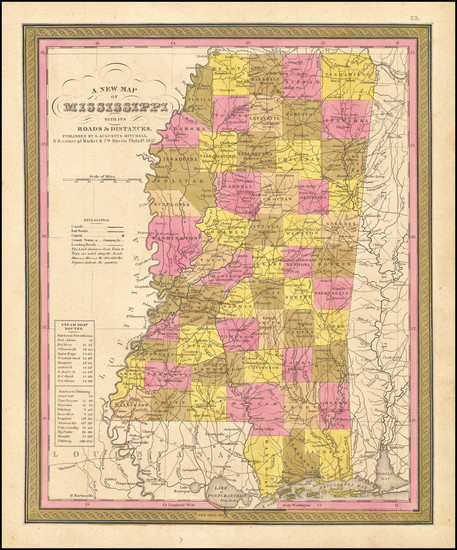 87-Mississippi Map By Samuel Augustus Mitchell
