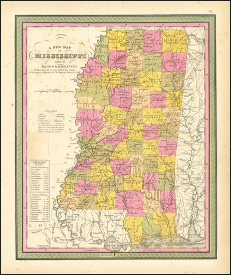 63-Mississippi Map By Samuel Augustus Mitchell