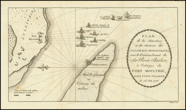 33-Southeast, South Carolina and American Revolution Map By Charles Picquet