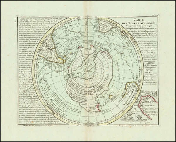 67-Southern Hemisphere, Polar Maps and New Zealand Map By Philippe Buache