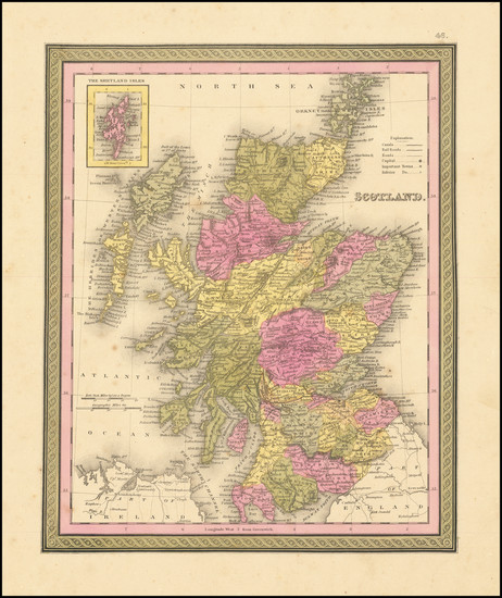 92-Scotland Map By Samuel Augustus Mitchell