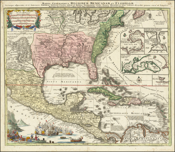 63-United States, South, Southeast and Caribbean Map By Matthaus Seutter