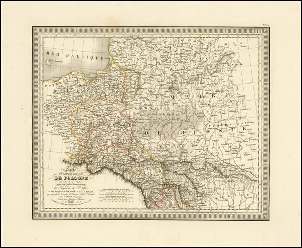 17-Poland, Russia and Baltic Countries Map By Louis Vivien de Saint-Martin