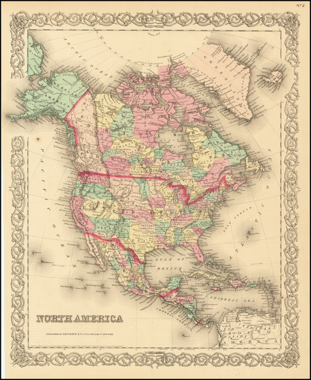 71-North America Map By Joseph Hutchins Colton
