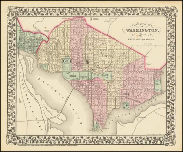 63-Washington, D.C. Map By Samuel Augustus Mitchell Jr.