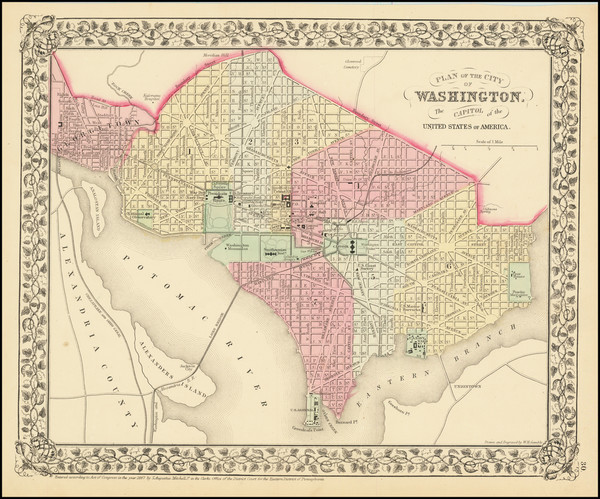 77-Washington, D.C. Map By Samuel Augustus Mitchell Jr.