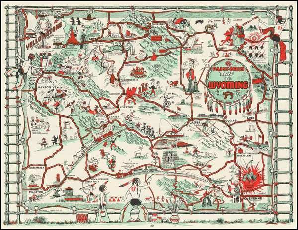 34-Wyoming and Pictorial Maps Map By Thomas G. Carrigen