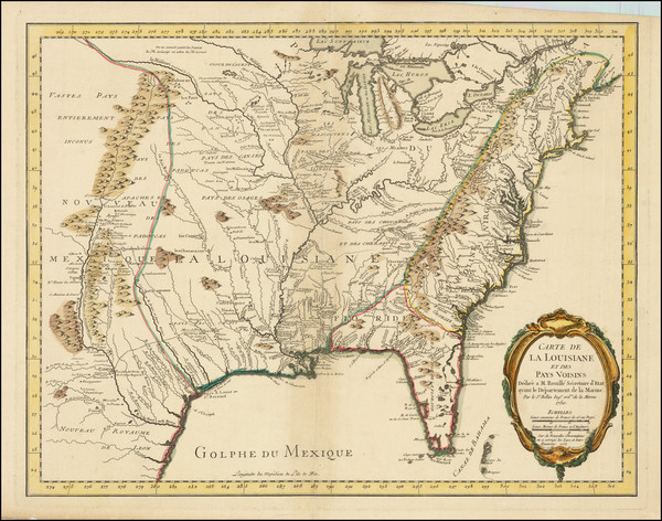 49-United States, South, Midwest and Plains Map By Jacques Nicolas Bellin
