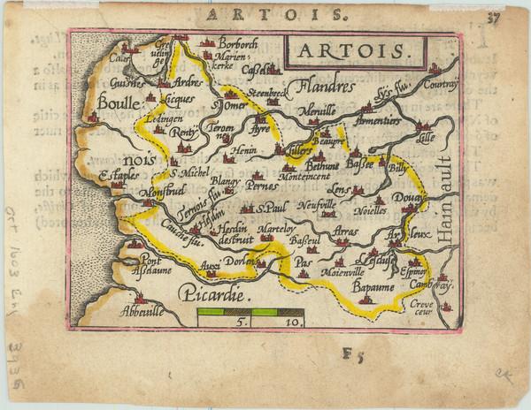 46-France Map By Abraham Ortelius / Johannes Baptista Vrients