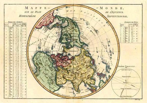 37-World, Northern Hemisphere, Polar Maps, Alaska and North America Map By Rigobert Bonne
