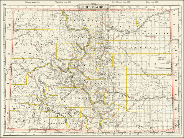 36-Rocky Mountains and Colorado Map By George F. Cram