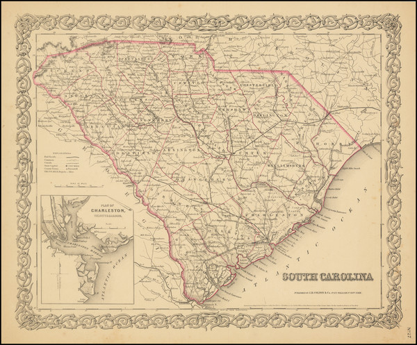 100-South Carolina Map By Joseph Hutchins Colton