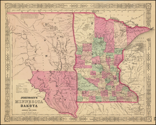 51-Minnesota, North Dakota and South Dakota Map By Alvin Jewett Johnson  &  Benjamin P Ward