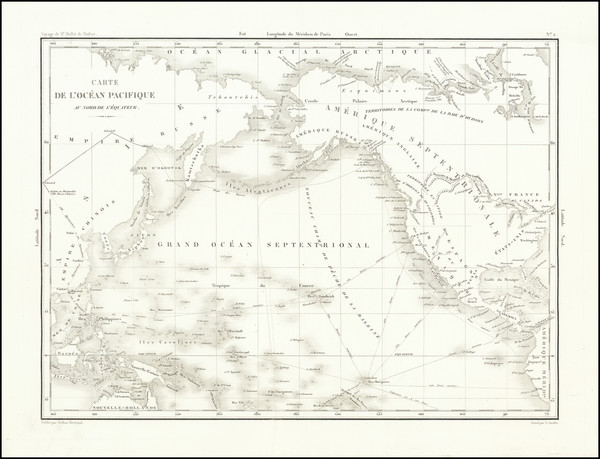 18-Pacific Ocean and Pacific Map By Eugene Duflot De Mofras