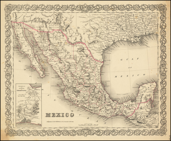 42-Mexico Map By Joseph Hutchins Colton