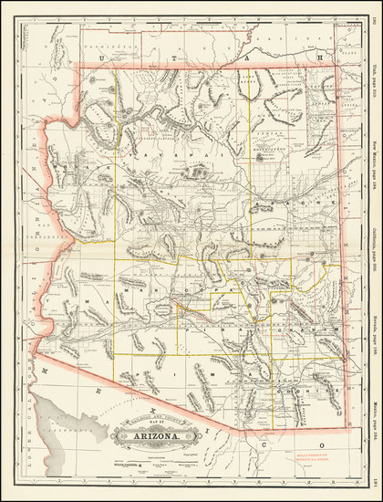 11-Arizona Map By George F. Cram