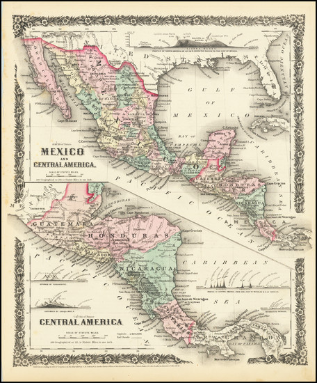 51-Mexico and Central America Map By Joseph Hutchins Colton