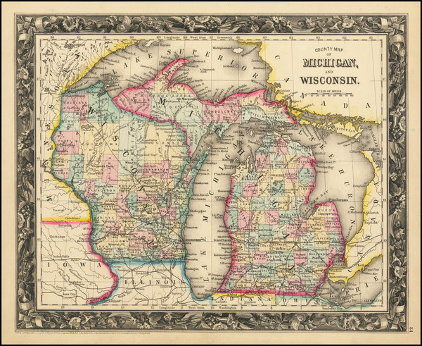 53-Michigan and Wisconsin Map By Samuel Augustus Mitchell