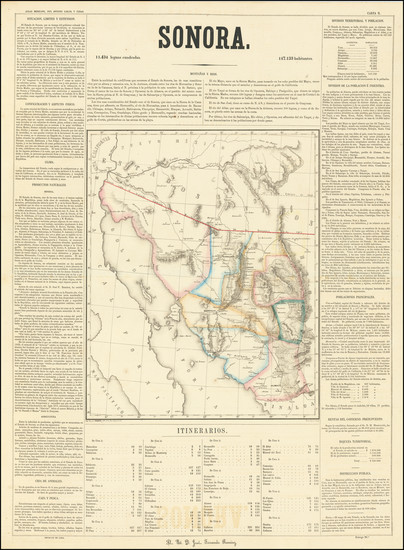 82-Southwest, Arizona, New Mexico and Mexico Map By Antonio Garcia y Cubas