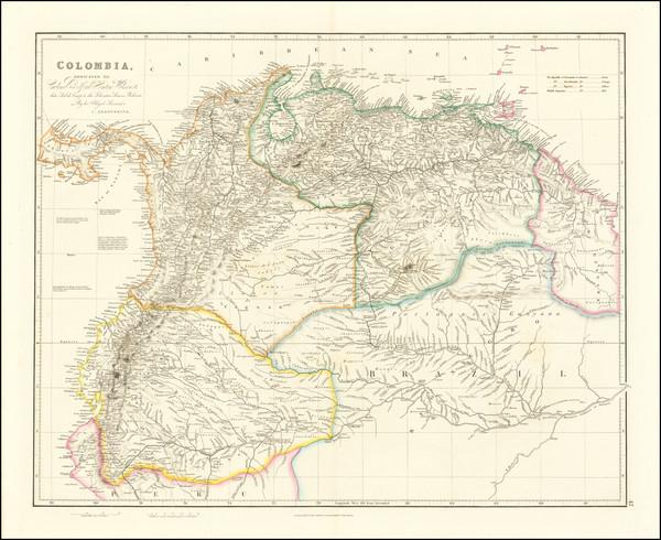 36-Colombia, Guianas & Suriname, Peru & Ecuador and Venezuela Map By John Arrowsmith