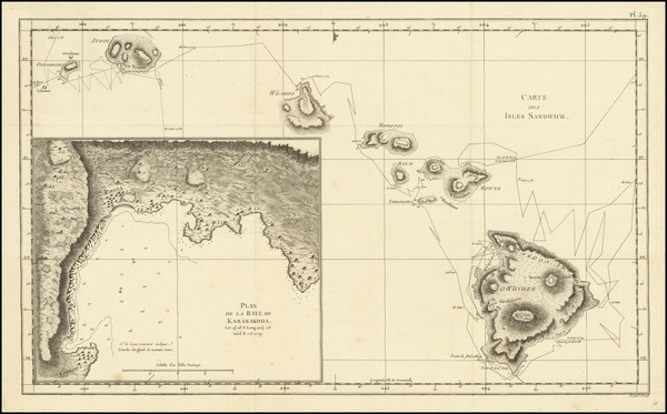 84-Hawaii and Hawaii Map By James Cook