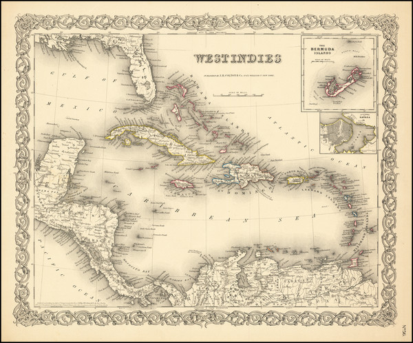 70-Caribbean Map By Joseph Hutchins Colton