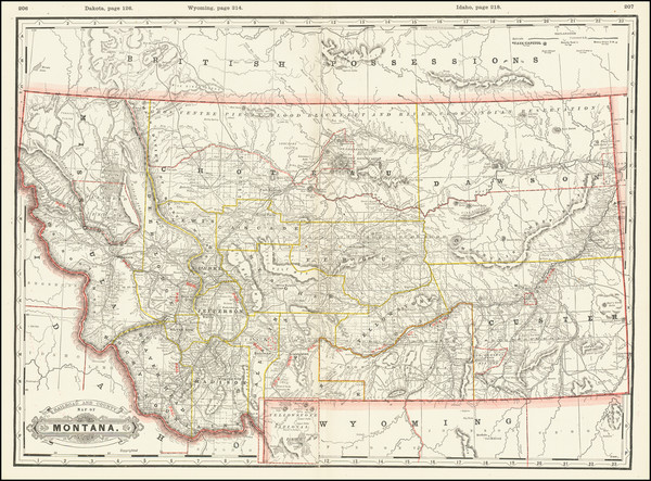 25-Montana Map By George F. Cram