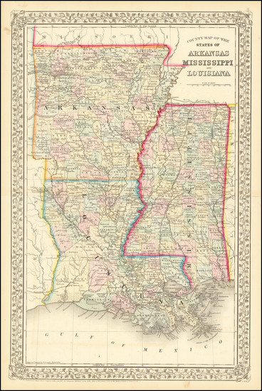 51-Louisiana, Mississippi and Arkansas Map By Samuel Augustus Mitchell Jr.